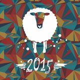 Vector card with sheep and 2015 Royalty Free Stock Image