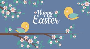 Vector Card with Simple design of cute birds and Happy Easter phrase,. Perfect for Easter card, banners, stickers and other Easter things royalty free illustration