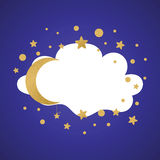 Vector card with stars, cloud shape moon and place for text. Vector banner with stars, cloud shape moon and place for text on the dark blue night background made Royalty Free Stock Photo