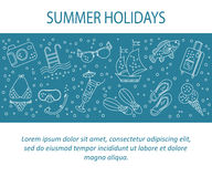 Vector card with summer holiday  line icons. Royalty Free Stock Photos