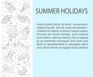 Vector card with summer holiday  line icons. Stock Photos