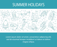 Vector card with summer holiday vector line icons. Royalty Free Stock Images