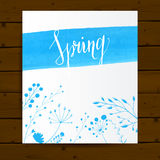 Vector card template with blue paint stroke, hand Royalty Free Stock Photo