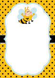 Vector Card Template with a Cartoon Bee on Polka Dot Background. Vector Bee. Vector card template with a cute bee on polka dot background. Card template for stock illustration