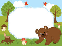 Vector Card Template with a Cute Bear, Butterflies, Mushrooms and Trees on Forest Background. Stock Image