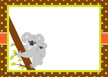 Vector Card Template with Cute Cartoon Koalas. Vector Koala Bear. Vector card template with a cute cartoon koalas on polka dot and stripes. Card template for Royalty Free Stock Images
