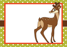 Vector Card Template with a Cute Deer on Polka Dot Background. Royalty Free Stock Photography