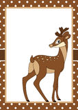 Vector Card Template with a Cute Deer on Polka Dot Background. Royalty Free Stock Images