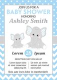 Vector Card Template with Cute Elephants for Baby Boy Shower royalty free illustration