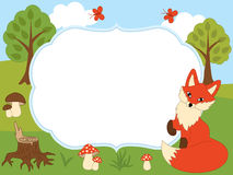 Vector Card Template with a Cute Fox, Butterflies, Mushrooms and Trees on Forest Background. Stock Photo