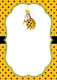 Vector Card Template with a Cute Ladybug on Polka Dot Background. Vector Ladybird. Stock Photography