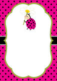 Vector Card Template with a Cute Ladybug on Polka Dot and Stripes Background. Vector Ladybird. Royalty Free Stock Image