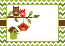 Vector Card Template with Cute Owls on the Branch, Birdhouses on Chevron Background. royalty free illustration