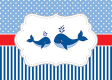 Vector Card Template with Cute Whales on Polka Dot and Stripes Background. Vector Whale. Vector card template with cute whales on polka dot and stripes Royalty Free Stock Photography