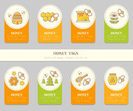 Vector card template design - natural honey collection. Vector card template with honey emblems. Natural honey tags collection (sorts of honey - pure raw, spring Stock Photos