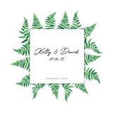 Vector card template with fern leaf. Vector template illustration with fern leaf. Isolated outline drawing. Modern illustration of tropical plant. Card with Royalty Free Stock Photos