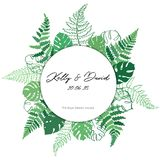 Vector card template with fern and monstera. Vector template illustration with fern and monstera leaf. Isolated outline modern drawing of tropical plant.. Card Stock Photos