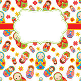 Vector Card template with a Frame and Space for your text. Background with Matryoshka and Flowers. Vector Russian doll. Stock Photography