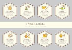 Vector card template with natural honey tags. Vector card template with beekeeping emblems. Natural honey tags collection sorts of honey - pure raw, spring Royalty Free Stock Images