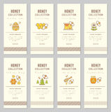 Vector card template with natural honey tags. Vector card template with beekeeping emblems. Natural honey tags collection sorts of honey - pure raw, spring Royalty Free Stock Photos