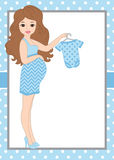 Vector Card Template with a Pregnant Woman on Polka Dot Background. Vector Baby Boy. Royalty Free Stock Photography