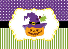 Vector Card Template with a Pumpkin on Polka Dot and Stripes Background.  Vector Halloween. Royalty Free Stock Photography