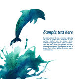 Vector card template with watercolor elements. Royalty Free Stock Photography