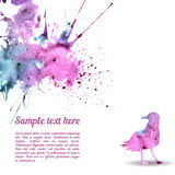 Vector card template with watercolor elements. Stock Photos