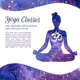 Vector card template for yoga classes with space texture Stock Photos