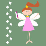 Vector Card with The Tooth Fairy. Girl with Wings and Toothbrash Royalty Free Stock Photography