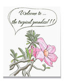 Vector card with tropical flower. Vector card with pink tropical flower. EPS10 illustration Royalty Free Stock Images