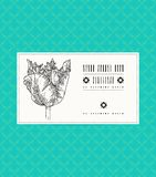 Vector card with tulip on ornamental pattern Stock Image