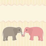 Two elephants card Stock Image