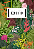 Vector card vintage. Exotic flowers and plants. Stock Photo
