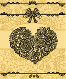 Vector card with vintage lace heart. Set of  vintage lace elements, to create for you backgrounds, invitations, greeting cards. All  elements you can edit Royalty Free Stock Image