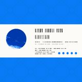 Vector card with watercolour circle in blue Stock Image