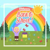 Vector card Welcome Back to school. Cartoon girl outdoors. Card Welcome Back to school. Cartoon girl outdoors. Vector illustration Stock Image