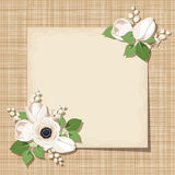 Vector card with white flowers on a sacking background. Eps-10. Royalty Free Stock Photo
