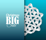 Vector card with white paper christmas snowflake Stock Photo