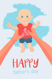 Vector card, wish, invitation. illustration. Happy Father playing with his cute little baby. Happy Father's Day. Vector card, wish, invitation. illustration Stock Images