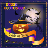 Vector card with words Happy Halloween, Trick or Treat. Royalty Free Stock Photography