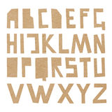 Vector cardboard ABC. Rough upper case letters cut out of craft paper Stock Photo