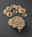 Vector Cardboard  of brain and bubble speech. Royalty Free Stock Image