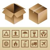 Vector cardboard delivery box and package icons Stock Images