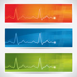 Vector cardiogram banner set Stock Photos