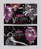 Vector cards with abstract colorful air balloons  Royalty Free Stock Photography