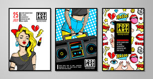 Vector cards and banners in 80s-90s pop-art comic style. Set of vector cards and banners in 80s-90s pop-art comic style with fashion patches, pins and stickers royalty free illustration