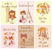 Vector cards with cute fashion girls Royalty Free Stock Photo