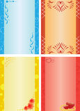 Vector cards in diferrent colors. 4 empty  cards with ornament Stock Images