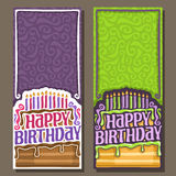 Vector cards Happy Birthday. 11 burning candles on celebration cake with drip chocolate, greeting lettering title text happy birthday, congratulations with vector illustration